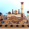 Close up of the engine on the 1835 Locomotive woodworking plan