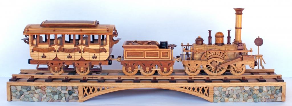 1835 Locomotive three car train and trestle woodworking plan