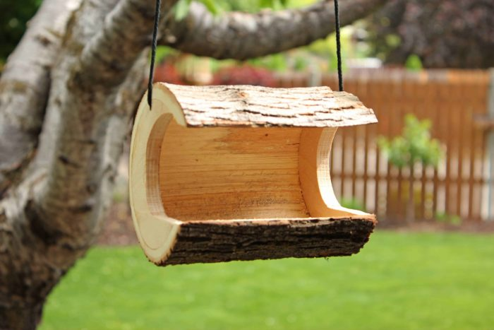 Woodworking plan for two bird houses and two bird feeders