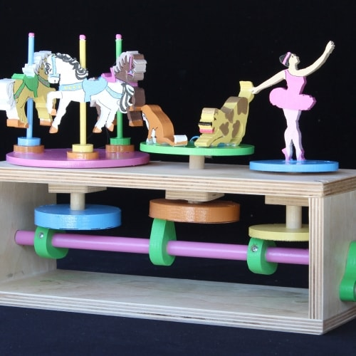 A great mechanical action toy that turns and raises up and down
