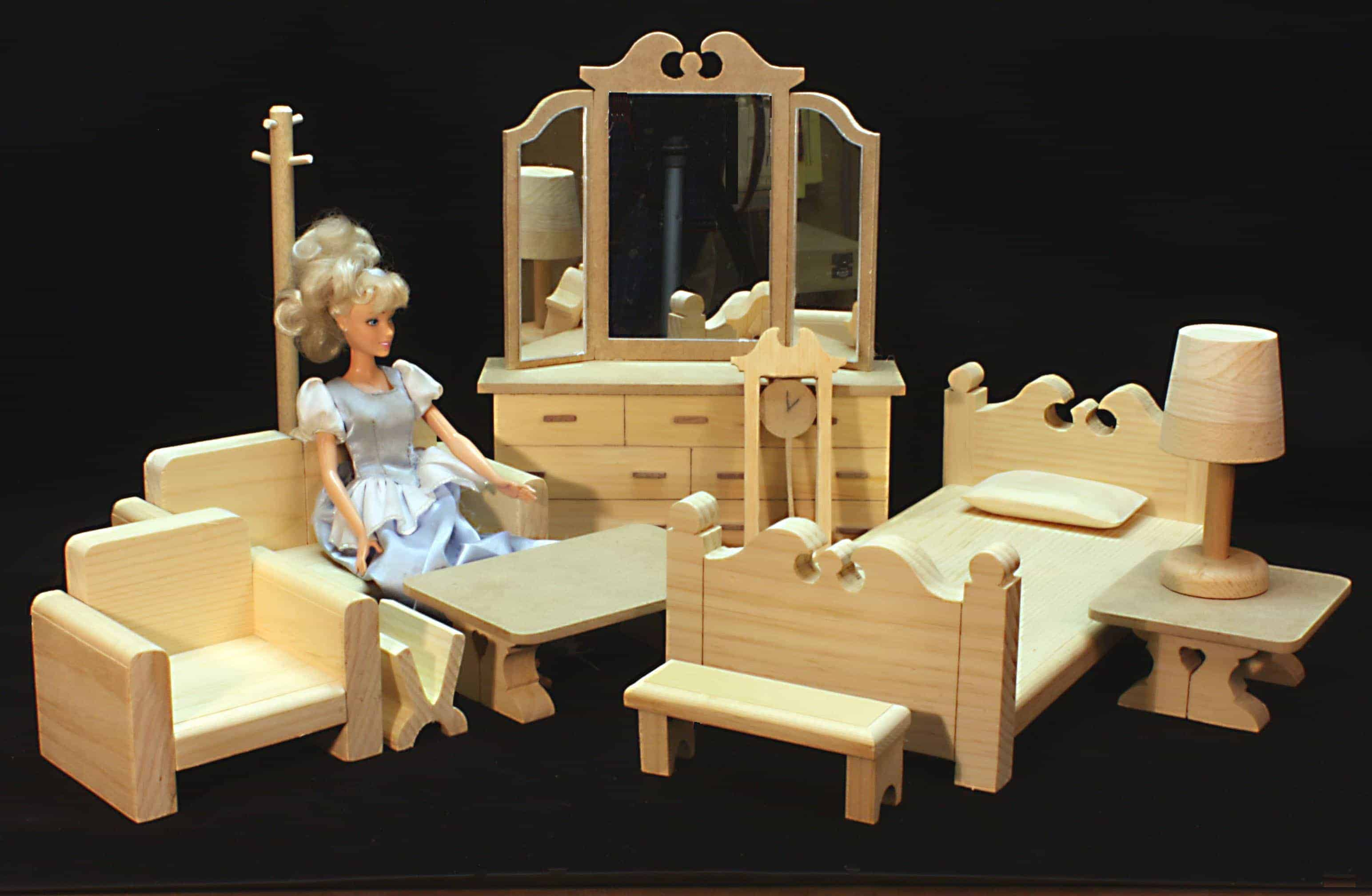 Two room barbie house furniture woodworking plans for Furniture house