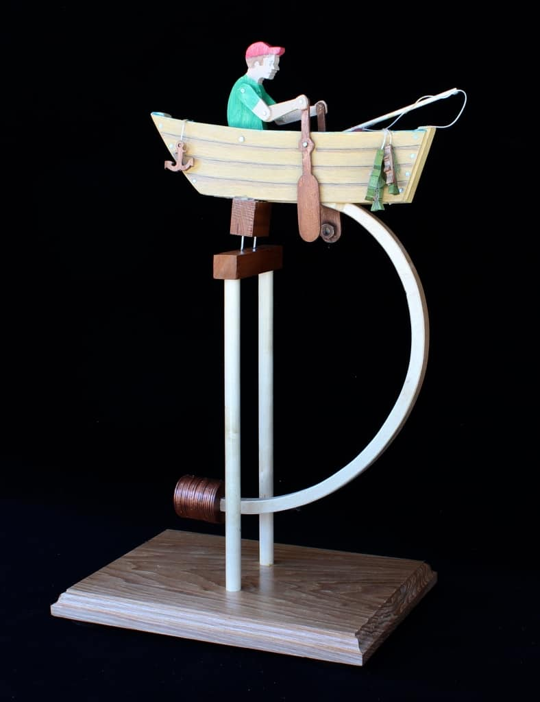 Wood balance toy, a rowing boy, from the European Vintage Toy plan