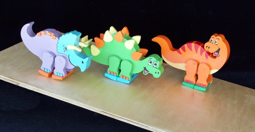 Animals rock and walk down ramp, all cut from wood and ready for action