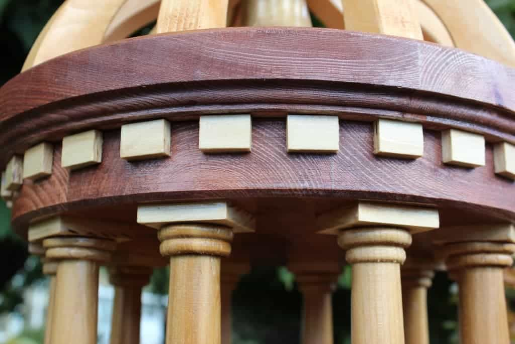 Close view of the Tuscany Bird Feeder fashioned from Redwood and Cedar