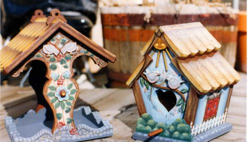Wood feeder and bird house part of the four patterns in the plan