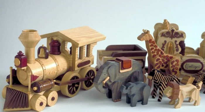 Assorted hardwoods add to the fun look of the train and animals