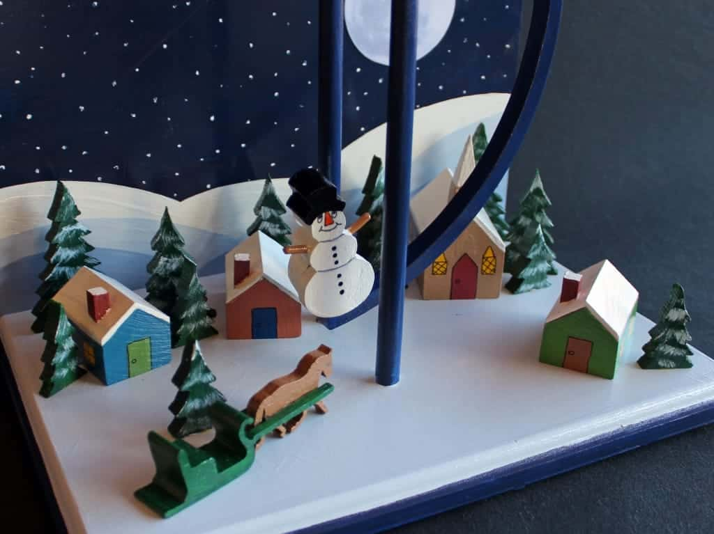 Base view of the Christmas Eve Santa swinging toy woodworking plan