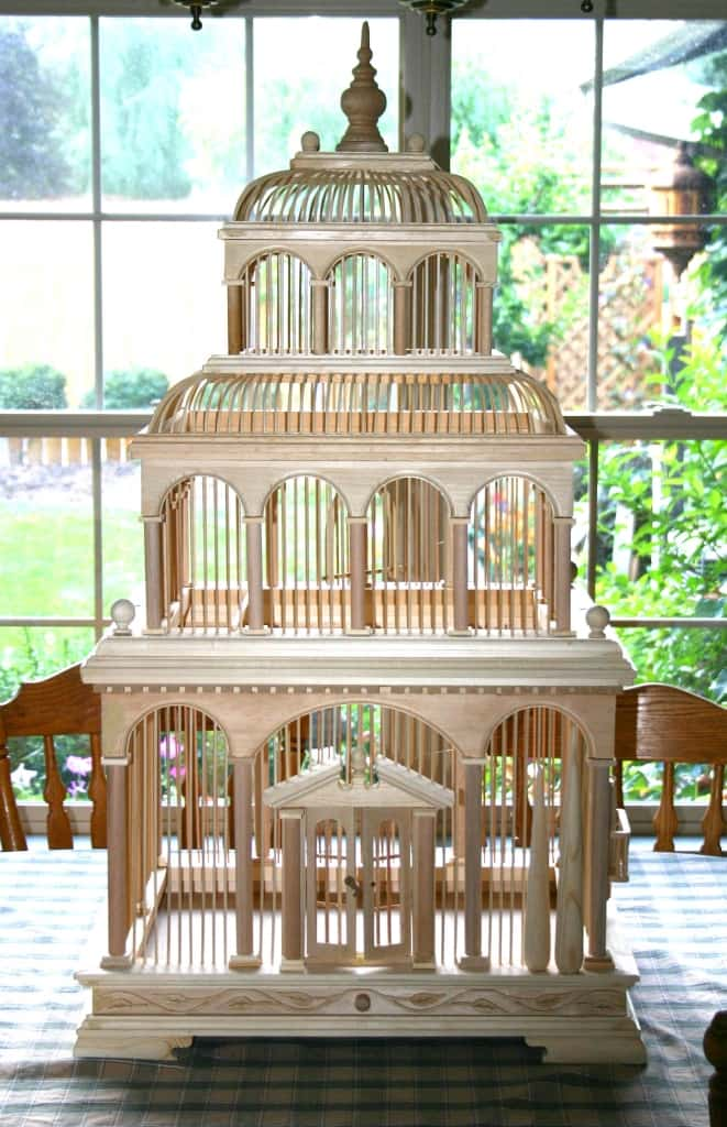 Functional bird cage built from woodworking plans