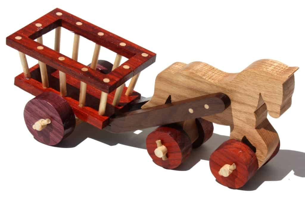 Horse and Cart from woodworking plans. In Walnlut, Purple Heart, Padauk and White Ash