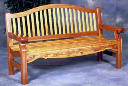 Wood Bench in wood, Redwood and Cedar, outdoor woods shown