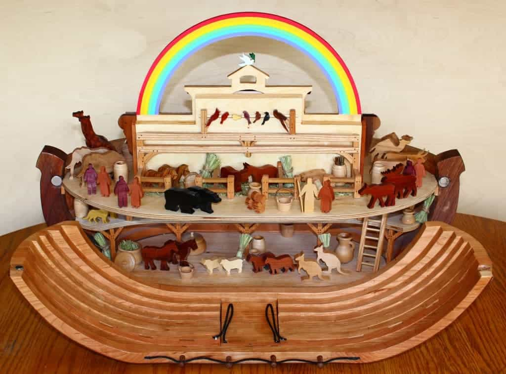 View of the Ark showing animals, people and features in the Ark