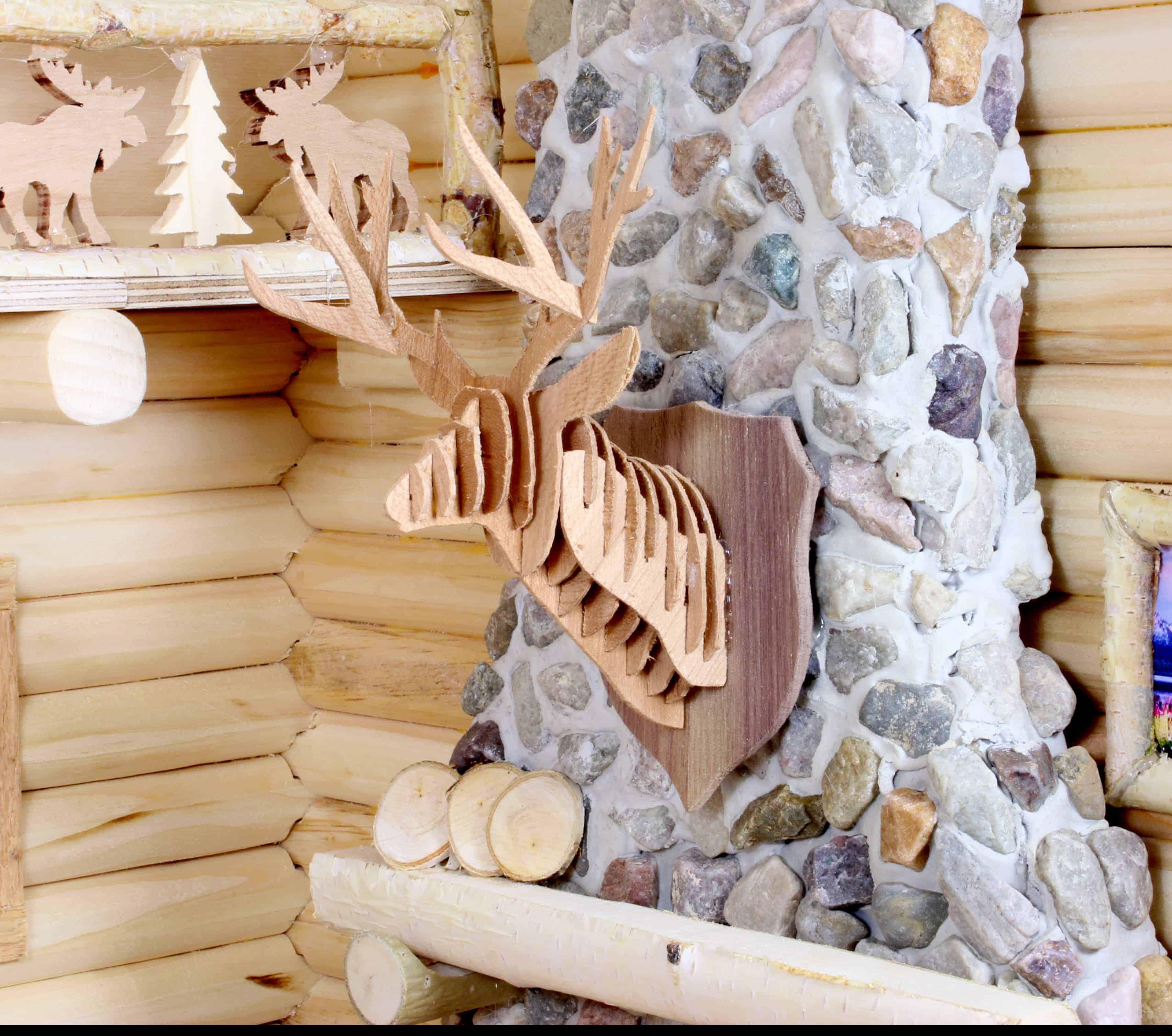 Deer head made from wood veneers , part of the large wood plan set. Full size patterns