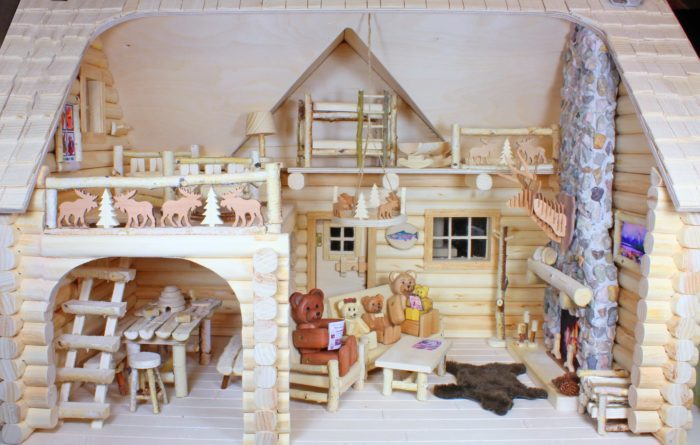 Five Bear Family members enjoy a warm fire. A leading woodworking project