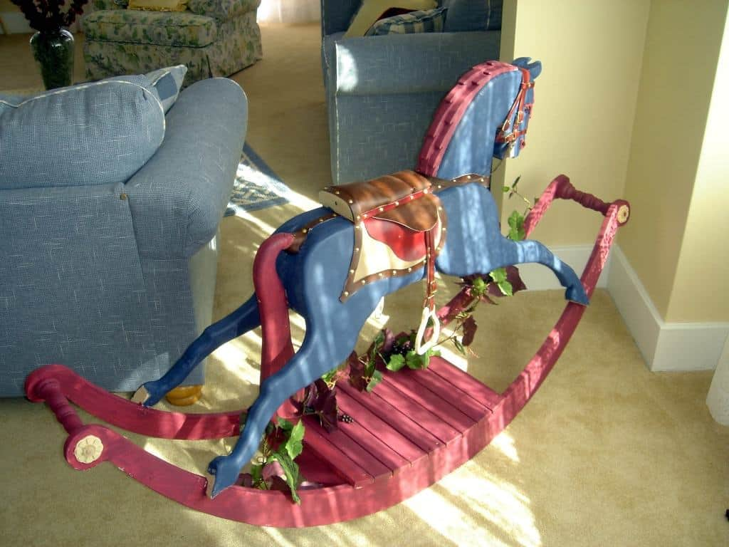 Victorian Rocking Horse showing the mane and tail in wood