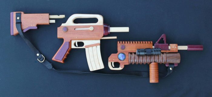 Three parts of the take-apart toy military weapon woodworking plan