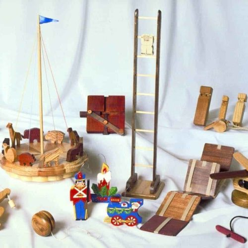 Many novel toys from easy woodworking plans including a yo-you, whistles, tops and a merry-go-round