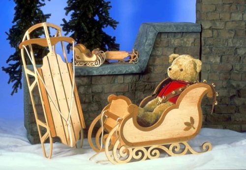 The large sleigh is sturdy enough for children to be pulled in the snow
