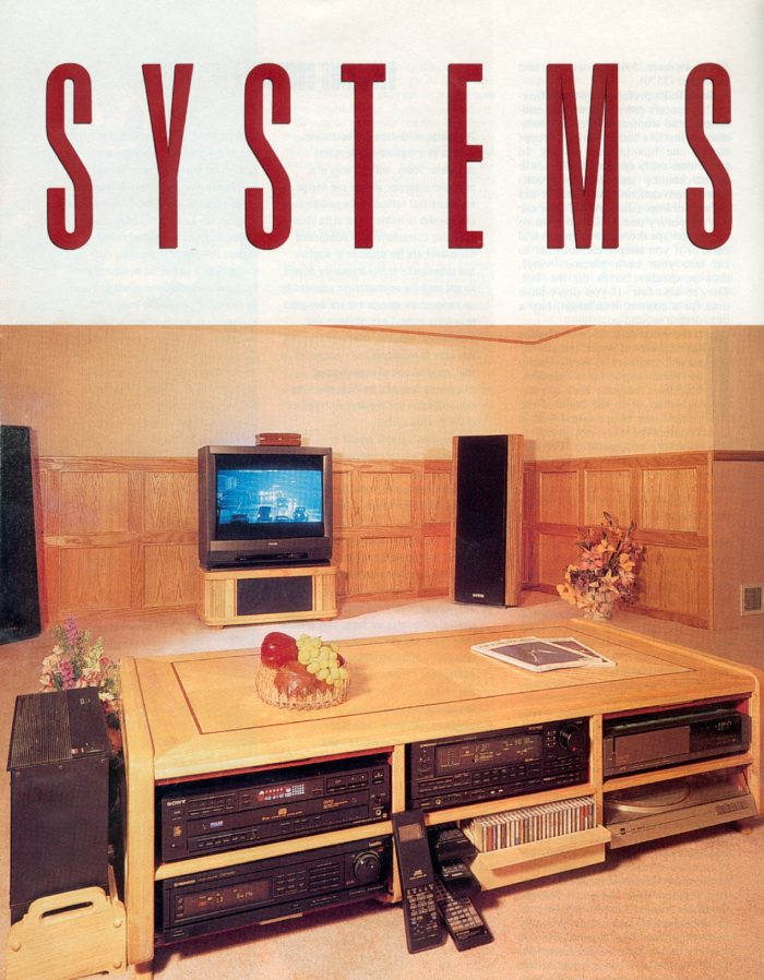 Stereo Review magazine featured system of the month. Very functional coffee talbe with gear at your fingertips