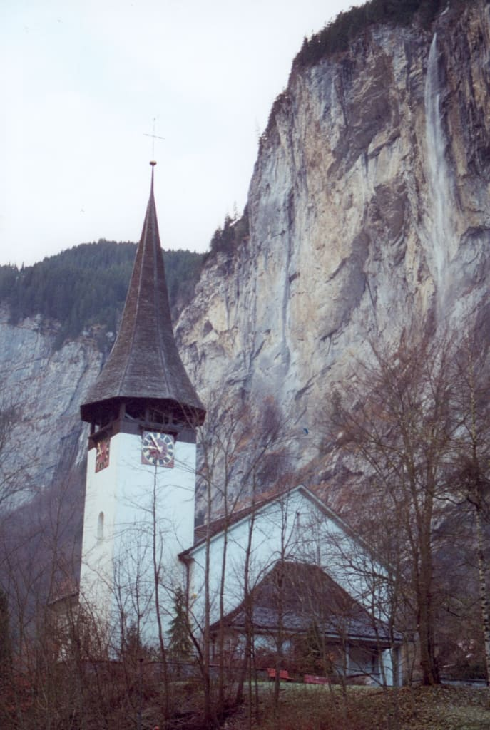 A church in the Alps of Lauterbrunnen, Switzerland