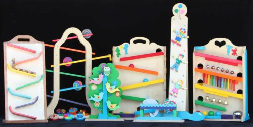 Playable, colorful toys all from one wood plan