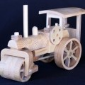 A Steam Roller made from solid a plywood, has working steering