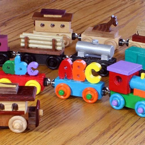 Wood trains from the Swiss Train woodworking plan