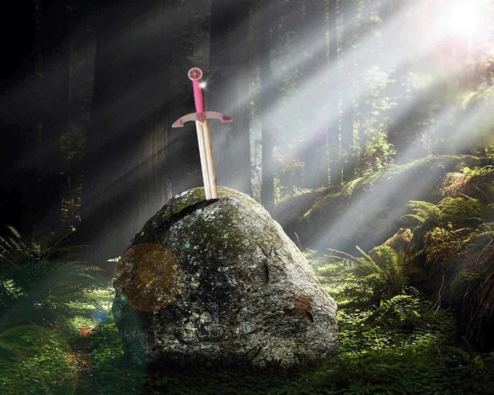 The sword in the stone image with our woodworking plan sword