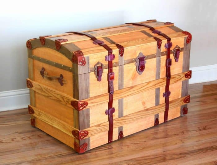 Nearly all wood with only hinges and small tacks in metal