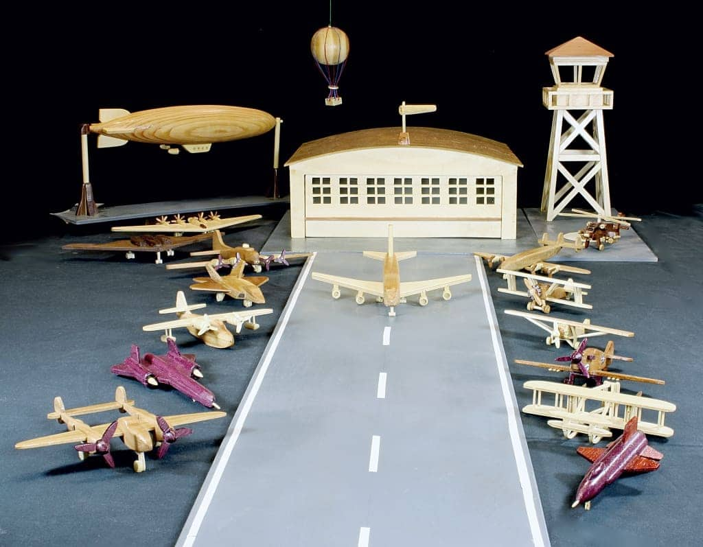 Woodworking plan for building a complete airfield with planes