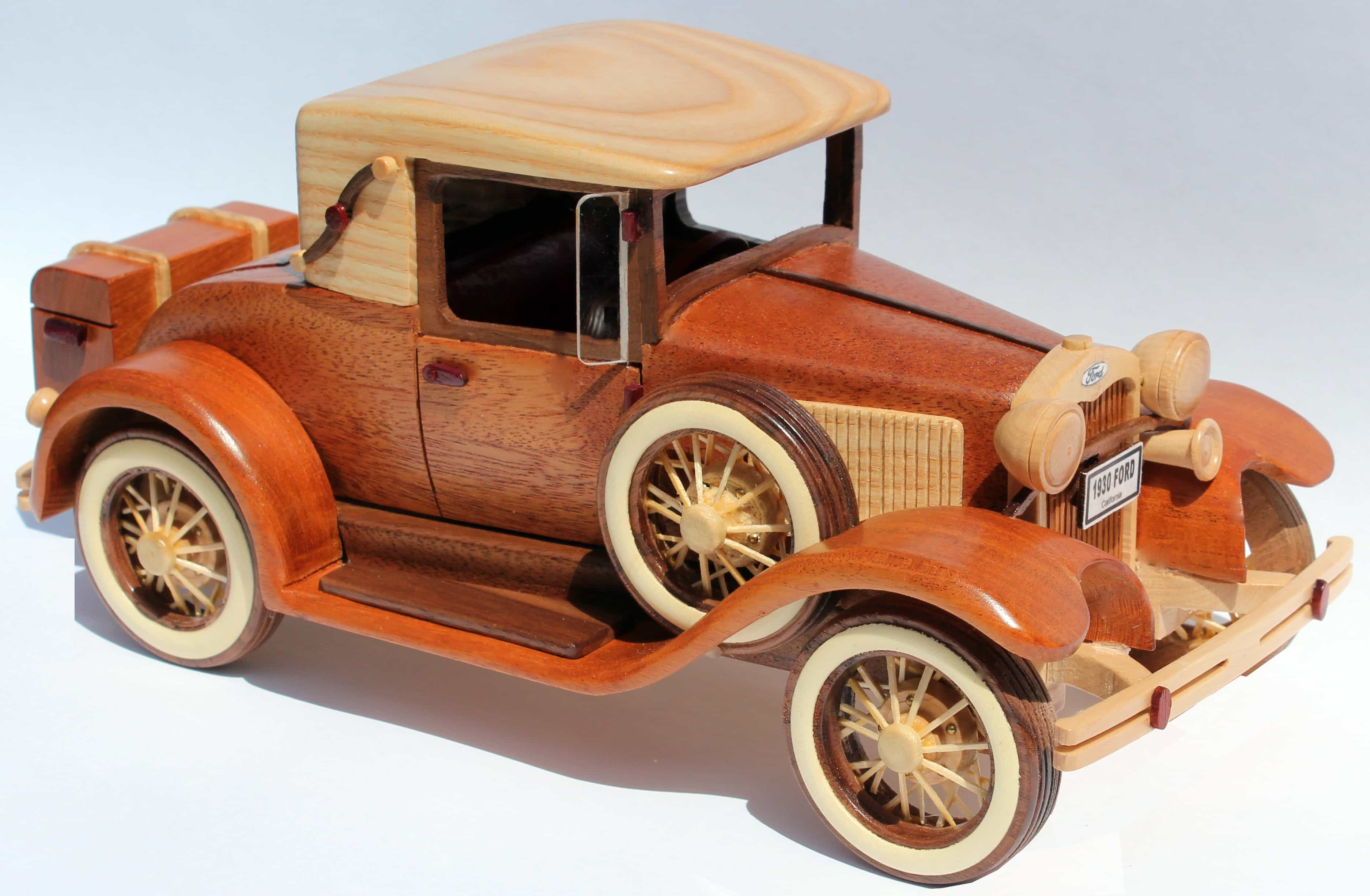A woodworking plan for building the classic 1930 Ford Model A car