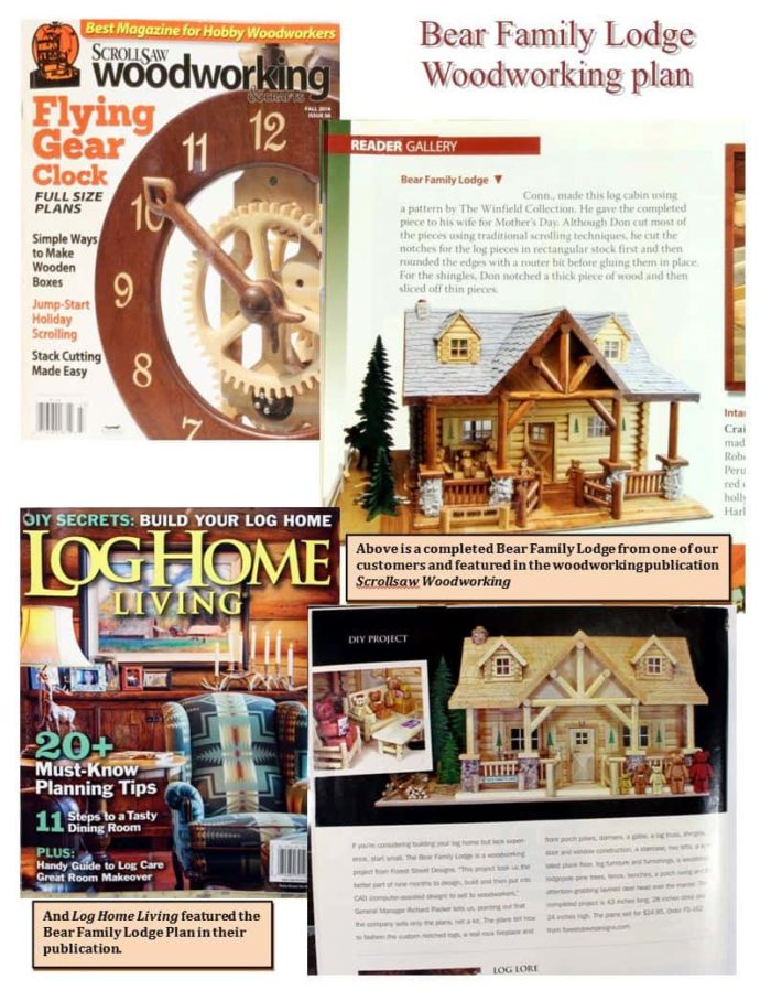 Two magazines featuring the Bear Family Lodge woodworking plan