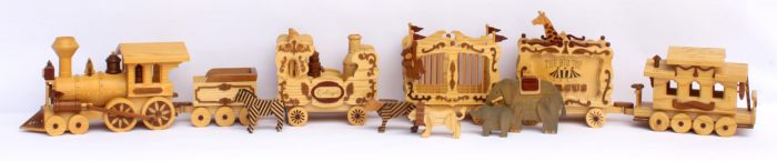 Circus Train woodworking plan with animals