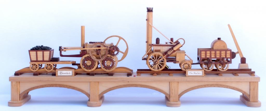 Side view of both trains in the First Trains woodworking plan set