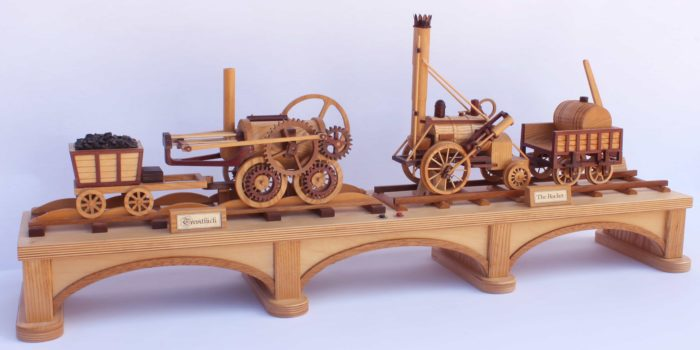 Two trains in the First Trains woodworking plan