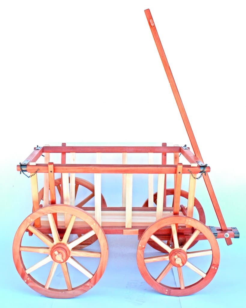 Side view of a finished Garden Cart from a woodworking plan