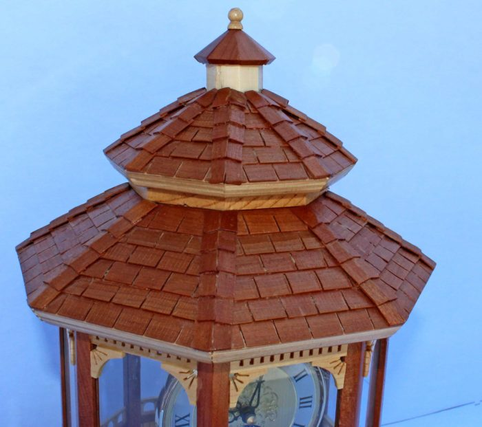 Close up of roof and shingles on the Gazbo Clock woodworking plan