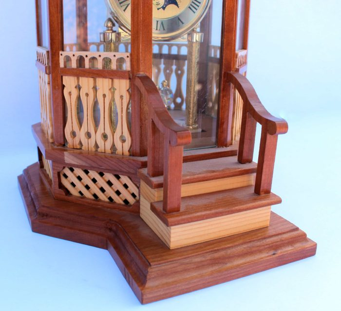 Woodworking plan for a Gazebo Clock. Shown in Cherry and White Ash