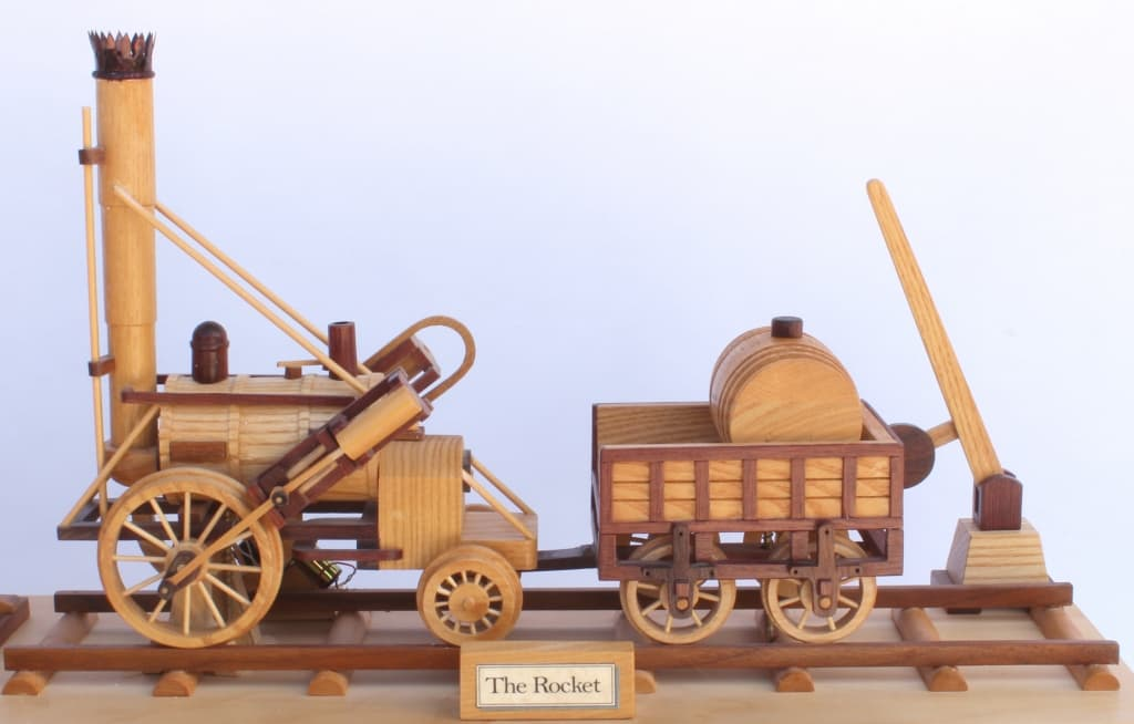 View of The Rocket engine and coal car on the First Trains woodworking plan