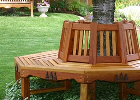 Woodworking plan with patterns for building a Tree Bench