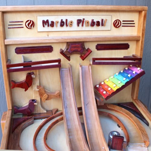Back panel view of Marble Pinball Machine woodworking plan