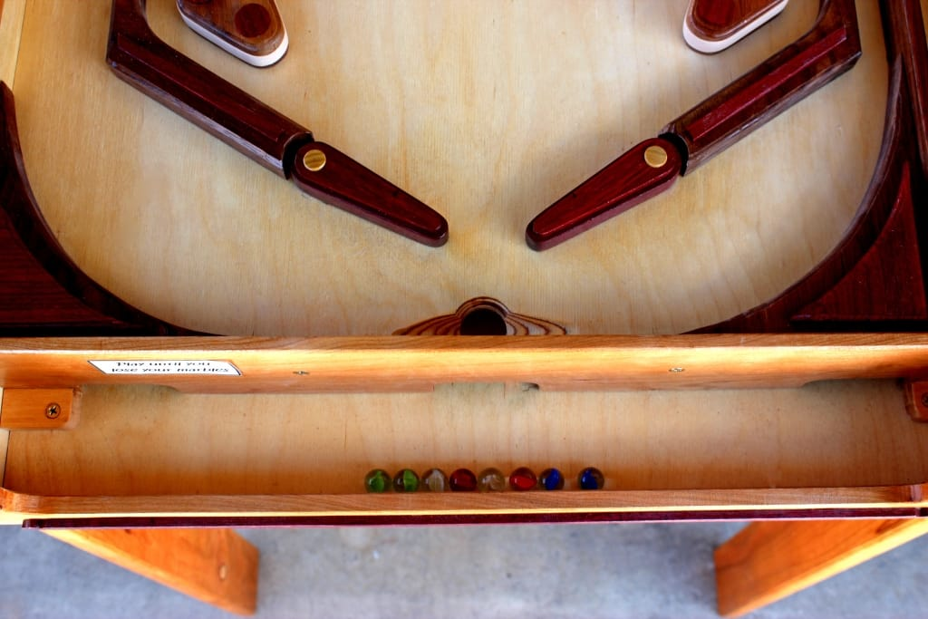 Pinball game flippers in the woodworking plan