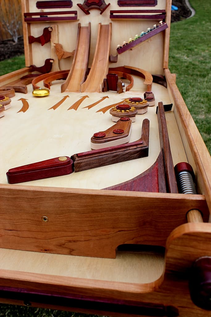 View from the laucher end of the Marble Pinball Machine woodworking plan