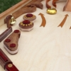 Marble Pinball view of bumpers and bells. A popular woodworking plan